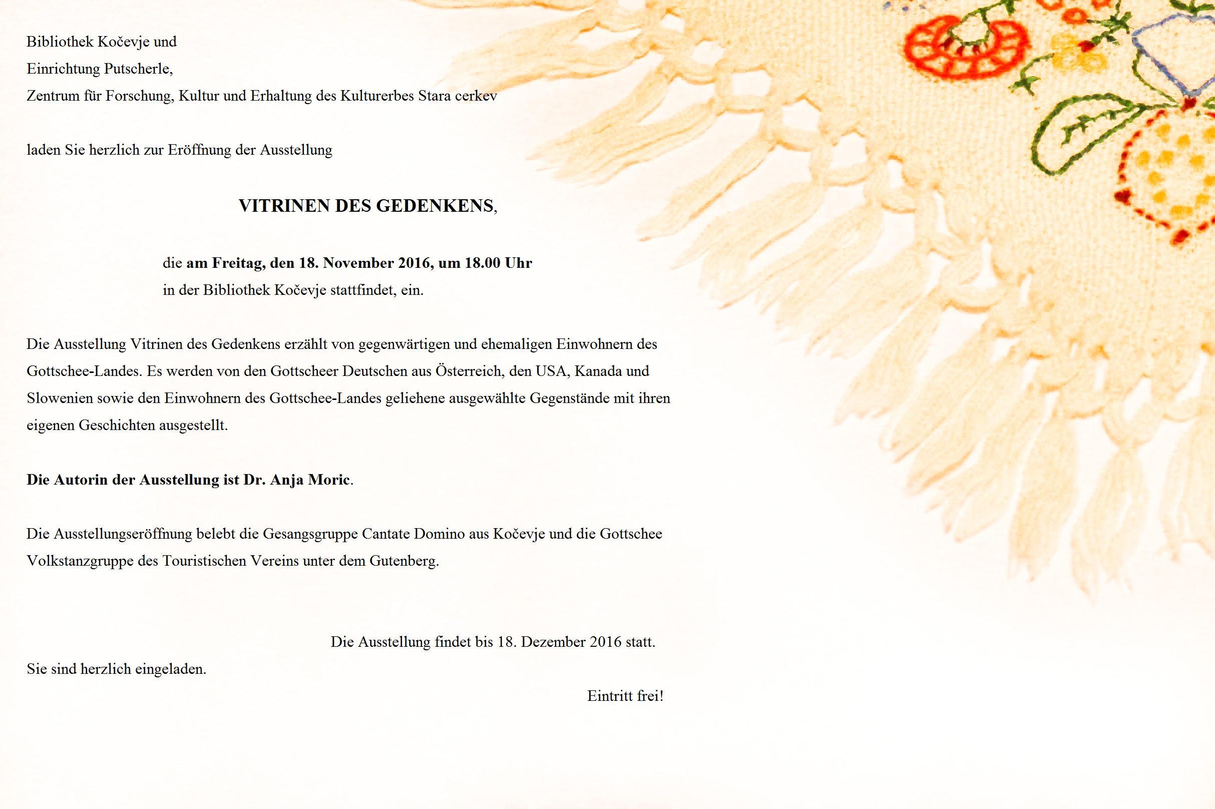 Eröffnung der Ausstellung VITRINEN DES GEDENKENS